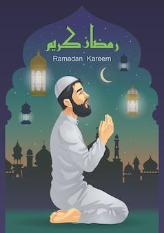 Um homem orando no ramadã