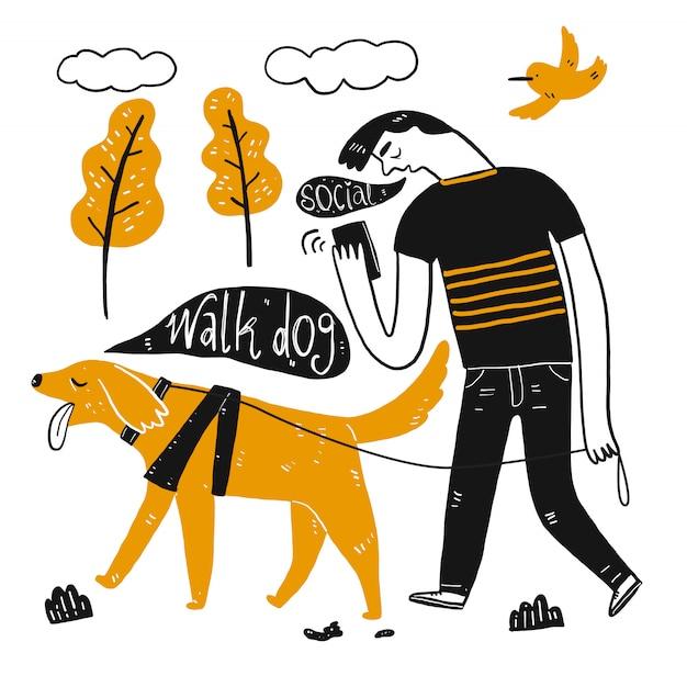 Um homem passeando com cachorro segurando uma xícara de café. coleção de mão desenhada, ilustração vetorial no estilo de desenho sketch.