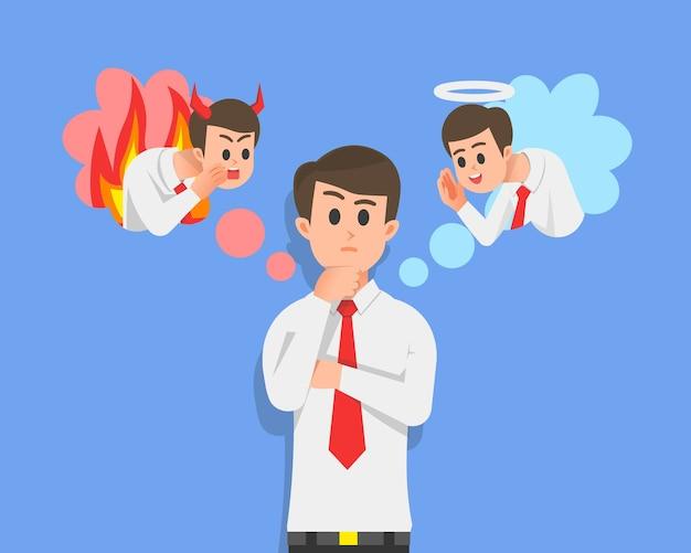Um homem pensa para decidir entre boas e más atitudes