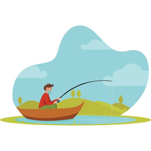 Um homem pescando sozinho no barco