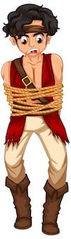 Um homem pirata prendeu a corda em seu corpo personagem de desenho animado isolado