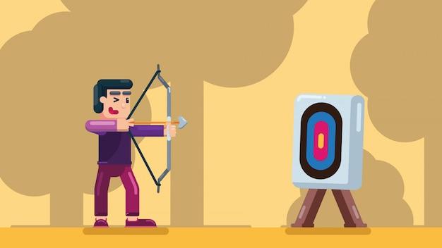 Um homem pratica tiro com arco na floresta