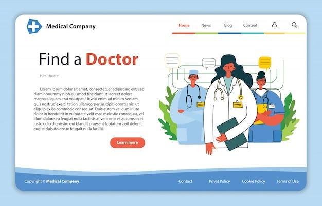Um homem procurando o médico. projeto de conceito para recursos de ajuda médica. abordagem de ajuda instantânea do médico online. solução de negócios de saúde.