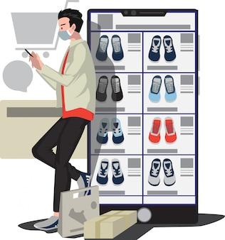Um homem que escolhe um novo sapato em loja online de sapatos