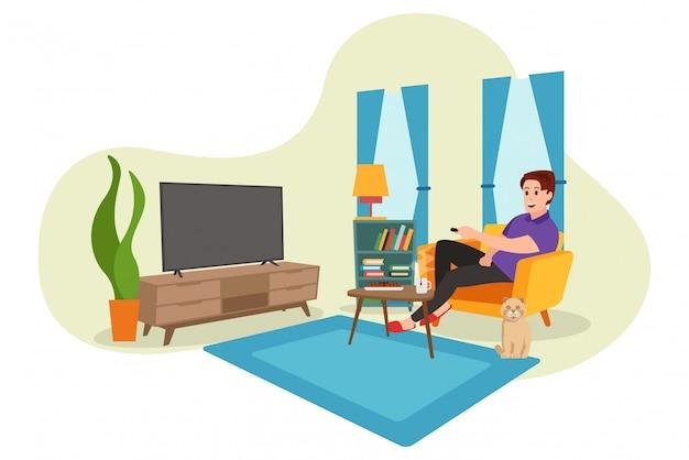 Um homem que estava assistindo televisão dentro de casa durante a pandemia do vírus covid-19