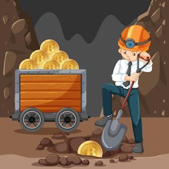 Um homem que faz a mineração de cryptocoin