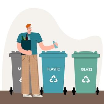 Um homem que se preocupa com o meio ambiente separa o lixo e joga o lixo na lata de lixo para ...