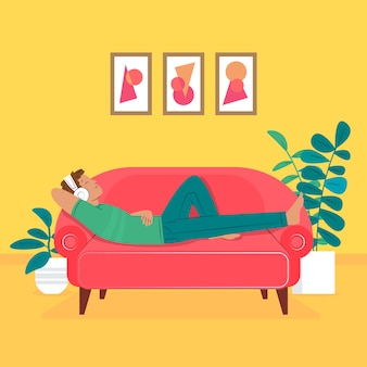 Um homem relaxando em casa