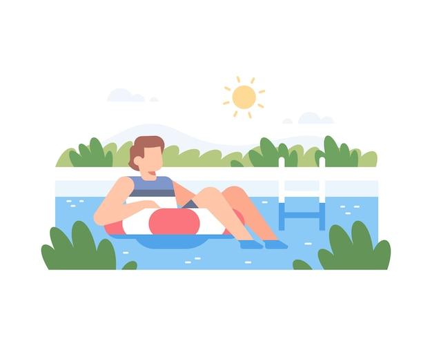 Um homem relaxando na piscina
