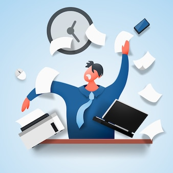Um homem revoltado, estressado, senta-se à mesa, espalhando documentos e papel.