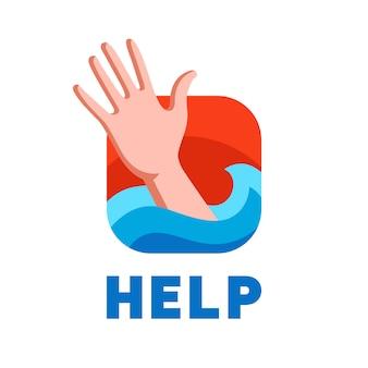 Um homem se afogando pede ajuda.