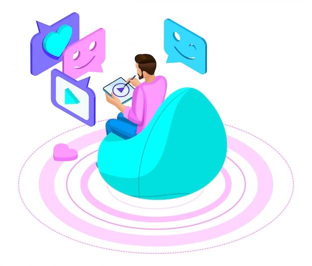 Um homem se comunica em um bate-papo, em uma moderna rede social, mantém correspondência, assiste vídeo através de um laptop. ilustração