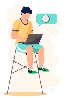 Um homem se senta em uma cadeira com um laptop nas mãos e trabalha ou estuda online. rede de blogueiros masculinos.