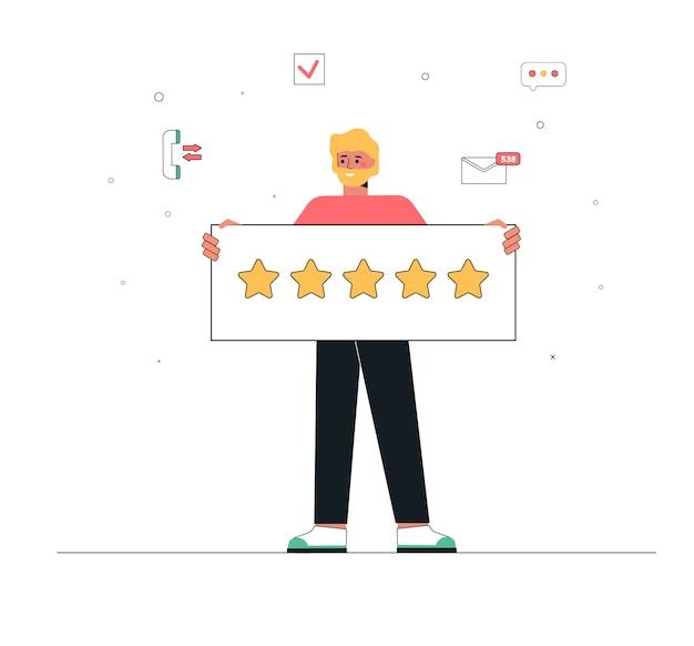 Um homem segura uma placa com cinco estrelas.