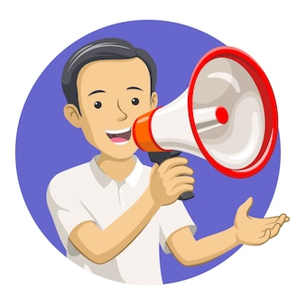 Um homem segurando um megafone