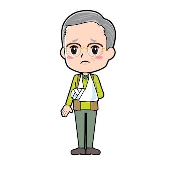 Um homem sênior com um gesto de braço fraturado. personagem de desenho animado.
