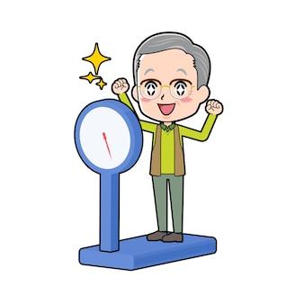 Um homem sênior com um gesto de escala de peso. personagem de desenho animado.