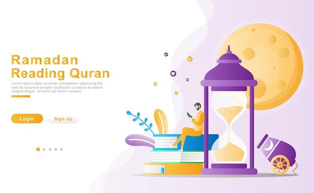Um homem sentado casualmente lendo o alcorão no conceito de ilustração do ramadã