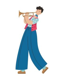 Um homem toca uma melodia em uma trombeta. profissão criativa.