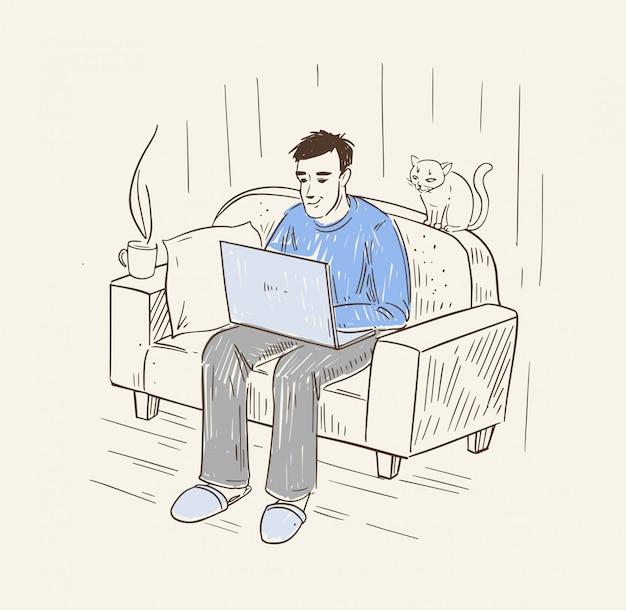 Um homem trabalha em um laptop. freelancer trabalha em casa no sofá. ilustração no estilo lineart.