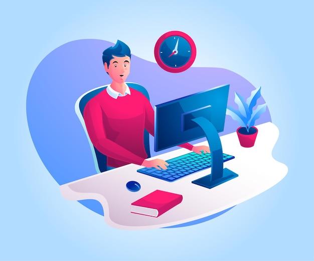 Um homem trabalhando em uma mesa de trabalho ou trabalhando em casa