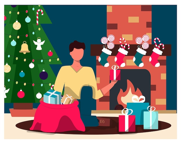 Um homem, uma árvore de natal e uma lareira levam presentes de natal. ilustração plana