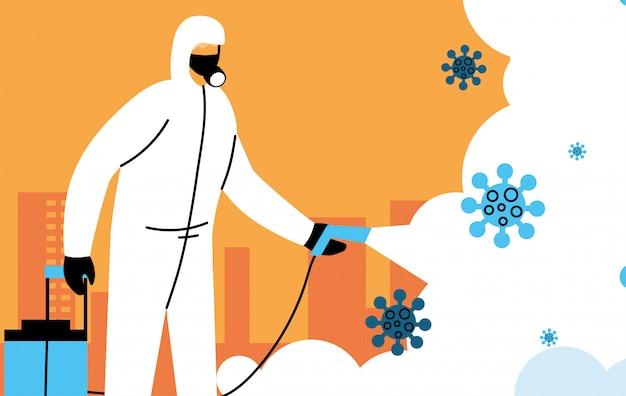 Um homem usa traje de proteção, limpa e desinfeta a cidade por coronavírus ou cobiçada 19