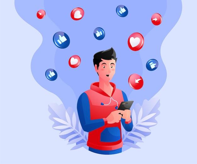 Um homem usando as redes sociais
