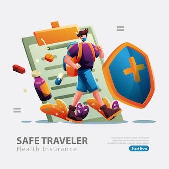 Um homem viajando com seguro saúde
