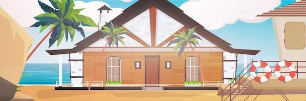 Um hotel em um mar azul, limpo e calmo. villa em uma praia de areia com palmeiras. desenho animado.