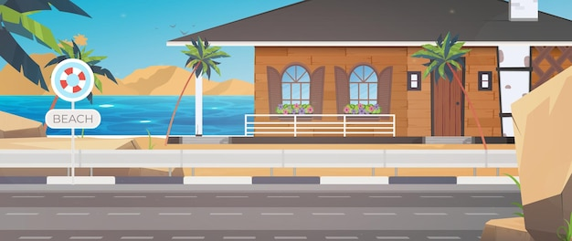 Um hotel em um mar azul, limpo e calmo. villa em uma praia de areia com palmeiras.