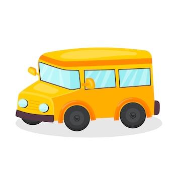Um ícone de brinquedo infantil de ônibus escolar carro isolado no fundo branco para seu projeto
