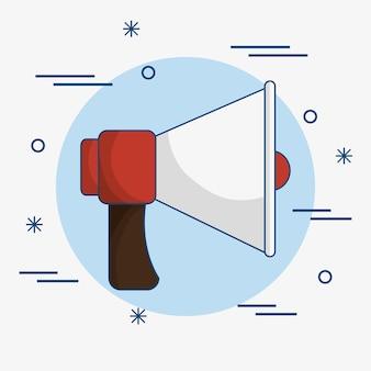 Um ícone vermelho e branco do megafone sobre o fundo azul e branco.