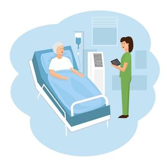 Um idoso encontra-se em um quarto de hospital e recebe conta-gotas. o conceito de assistência médica.