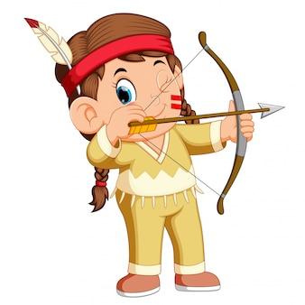Um, indian americano menina, tocando, tiro com arco