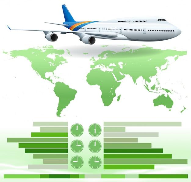 Um infochart mostrando um avião