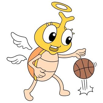 Um inseto barata com uma cara feliz jogando basquete, arte de ilustração vetorial. imagem de ícone do doodle kawaii.