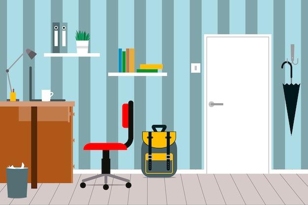 Um interior acolhedor de um quarto de crianças com mobília