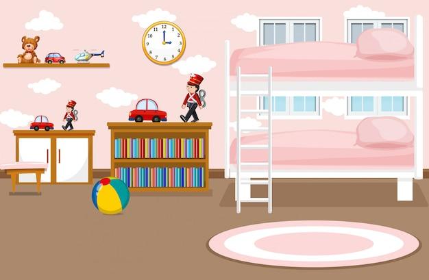 Um, interior, de, menina, quarto, ilustração