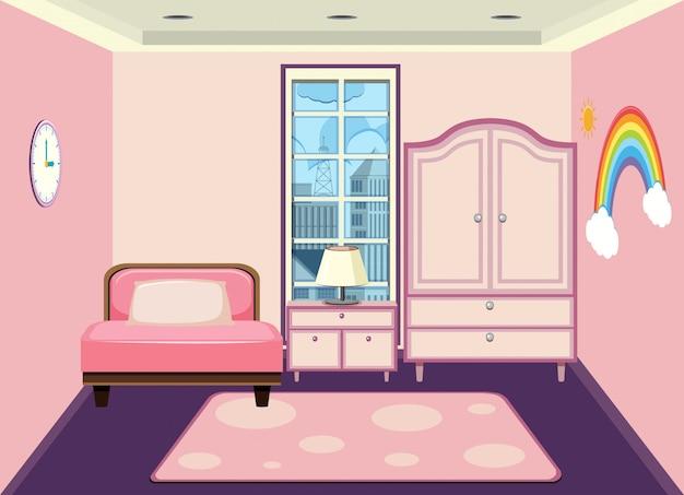 Um, interior, de, menina, quarto