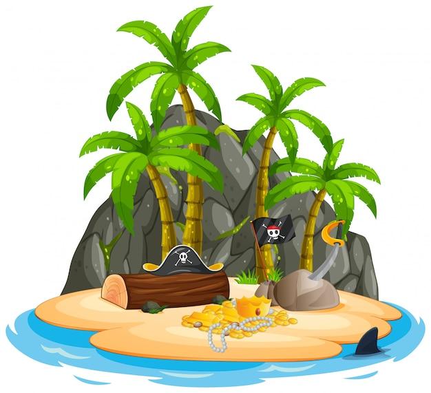 Um, isolado, pirata, ilha