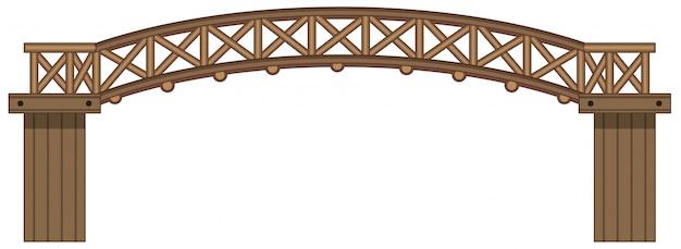 Um, isolado, ponte madeira