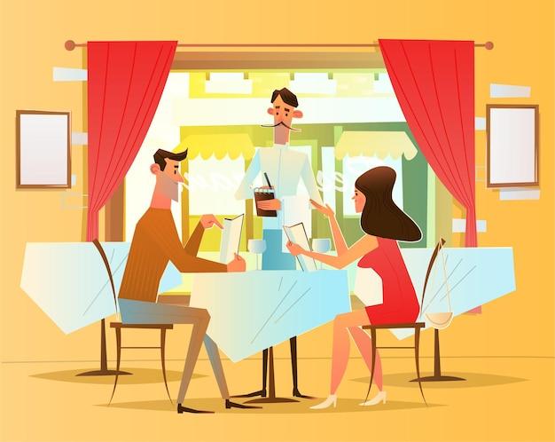 Um jantar romântico no restaurante. o garçom serve os visitantes