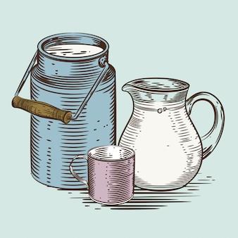Um jarro de leite e uma xícara.