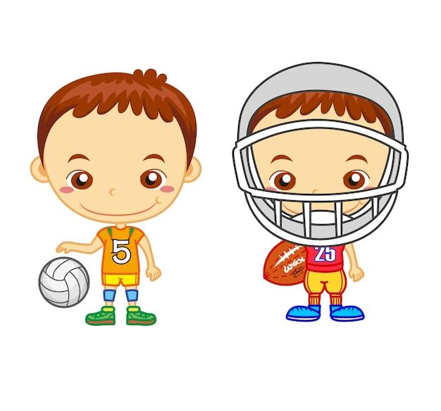 Um jogador de futebol americano e um jogador de voleibol isolados. crianças e séries de esportes