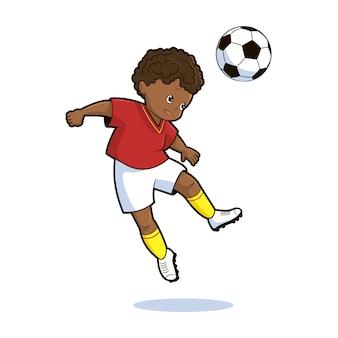 Um jogador de futebol chuta a bola em um salto ilustração vetorial no estilo desenho animado