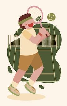Um jogador de tênis segura uma raquete de tênis com as duas mãos e balança para acertar a bola.