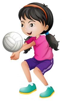 Um jogador de vôlei feminino