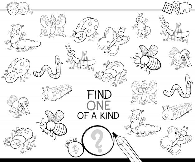 Um jogo amável com livro de cores de insetos