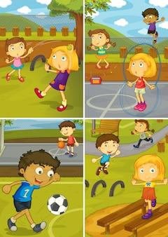 Um, jogo, de, atividade, crianças, em, a, pátio recreio